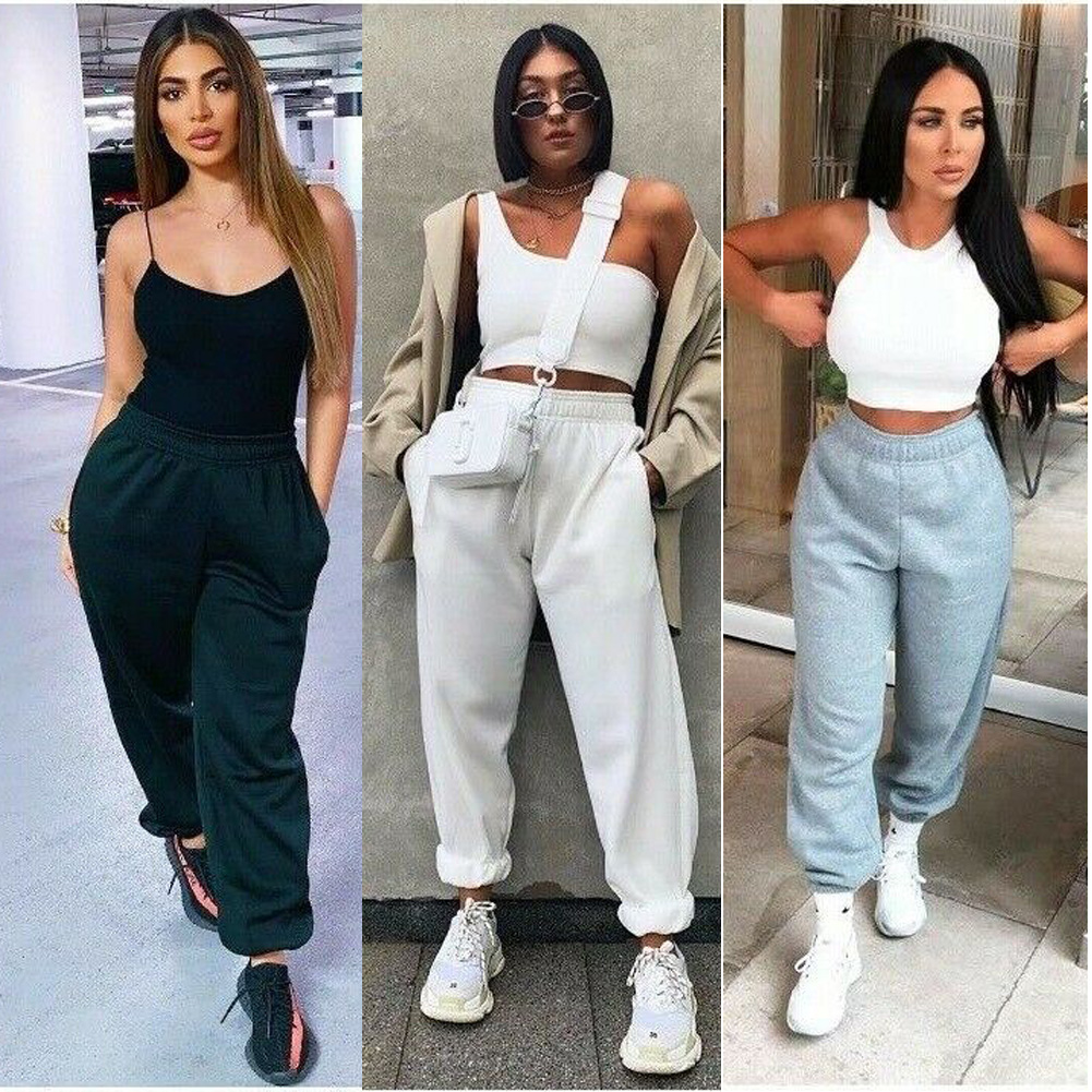 New Women Casual Sport Pants Solid Running Jogger Pants Female Solid Tracksuit Elastic Waist Ladies Sweatpants Baggy Trousers