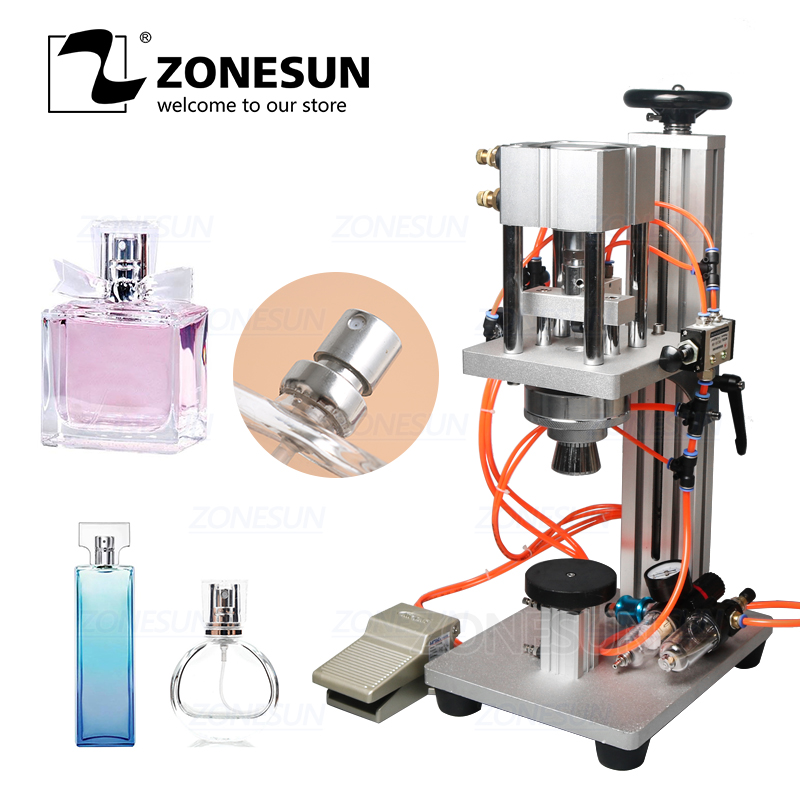 ZONESUN Pneumatic Perfume Crimping Machine Capper Metal Cap Press Machine Sealing Machine Perfume Capping Machine Crimper Sealer