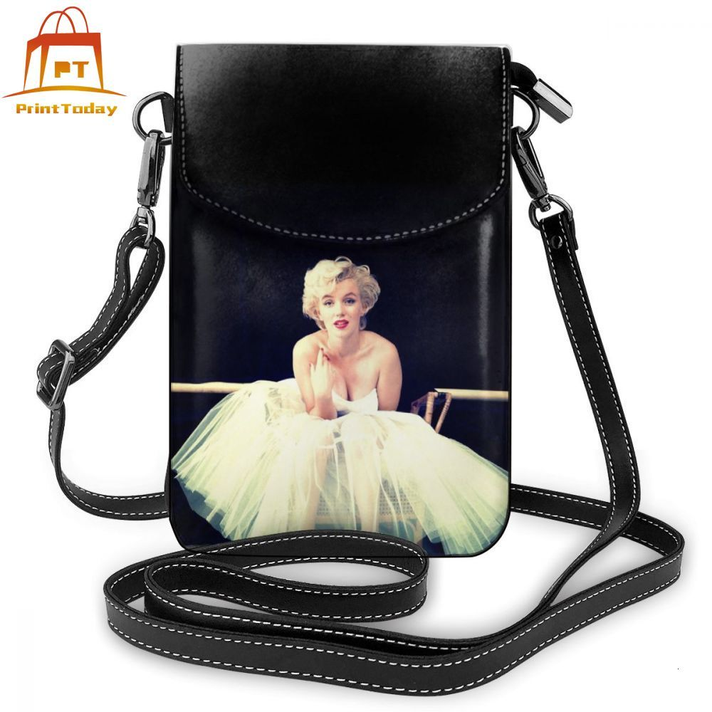 MARILYN MONROE HAVE A DRINK WITH ME Leather Sling Bag Small Purse