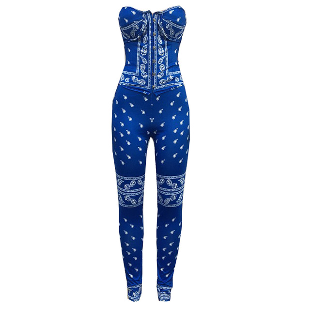 Bonnie Forest Womens Bandana Corset Set (Royal Blue) Sexy Strapless Corset Top And Matching Legging Set Two-Piece Suits Clubwear 6