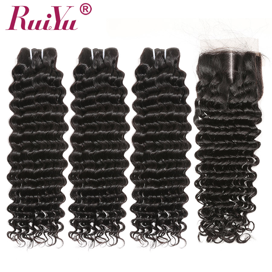 RUIYU Hair Malaysian Deep Wave Bundles With Closure Remy Hair 3 Bundles Deal Human Hair With Lace Closure 4*4 Swiss Lace-in 3/4 Bundles with Closure from Hair Extensions & Wigs    1
