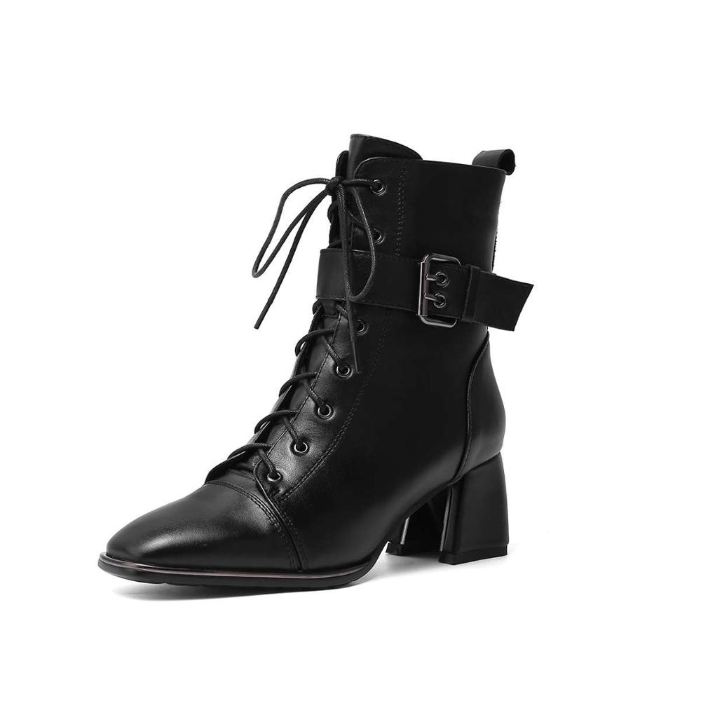 Image 5 - Krazing Pot office lady square toe genuine leather lace up belt  buckle high heels winter keep warm women black ankle boots L4f3Ankle  Boots