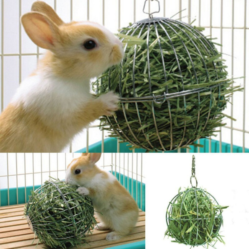Hay Ball Shape Grass Feeder Tool Food Stainless Steel Plating Rack Ball For Rabbit Guinea Pig Pet Hamster Cage Hanging Decor