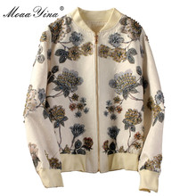 MoaaYina High Quality Fashion Designer Jacket jacket Autumn Women Floral-Print Beading Casual Elegant Short