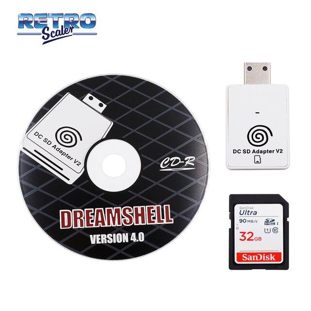 محول قارئ البطاقات SD ريتروسكالر + قرص مضغوط مع dreamshell_boot_لودر لوحدة تحكم ألعاب تيار مستمر دريم كاست + بطاقة ذاكرة SD سعة 32 جيجابايت مع ألعاب تيار مستمر