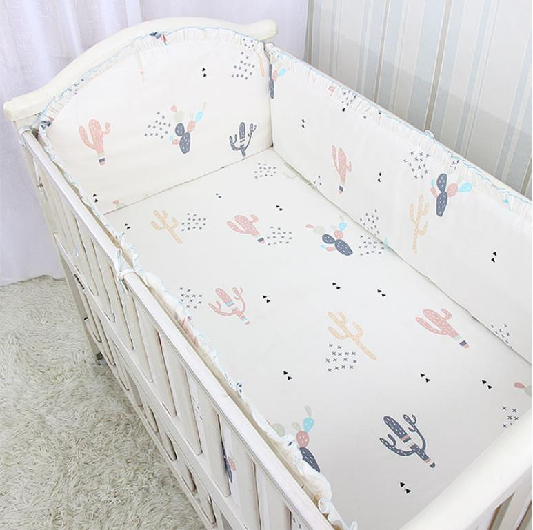 5PCS Cotton Baby Cot Bedding Set Newborn Bed Bumpers Toddler Baby Bedding Set Crib Around Protect Bumpers Cotton,(4bumper+sheet)