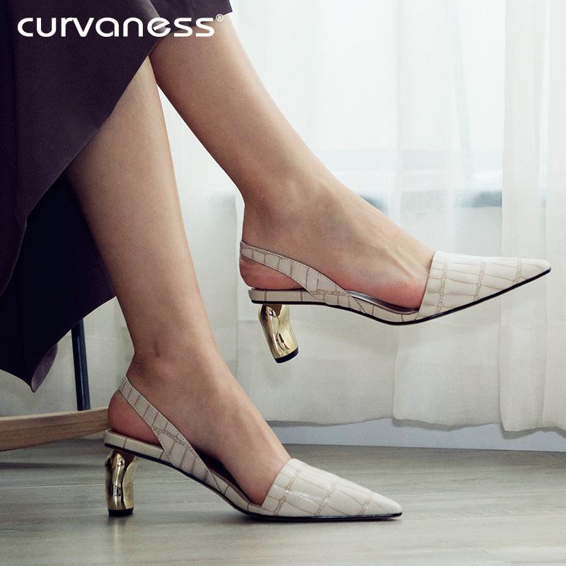 Curvaness Women Sandals Med Heels Summer Brand Woman Pumps Thick Heels Party Shoes Pointed Toe Slip On Office Dress Shoes Beige