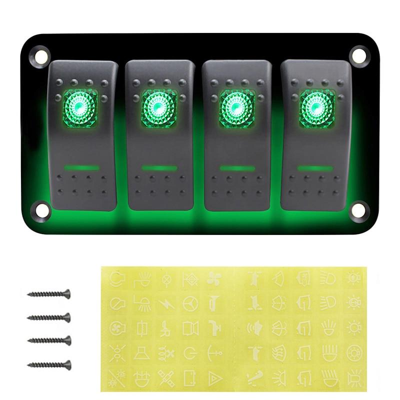 4/ 6 Panel przełącznika dźwigniowego 12 V ~ 24 V zabezpieczenie przed przeciążeniem łodzi przełącznik przechylny Panel z oświetleniem LED