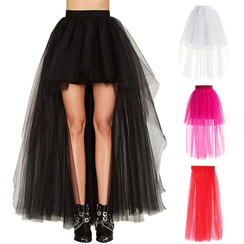 Fashion Women Skirt New Punk Sexy Mesh Irregular Front Short Back Long Tutu Puff Skirts Elastic Waist