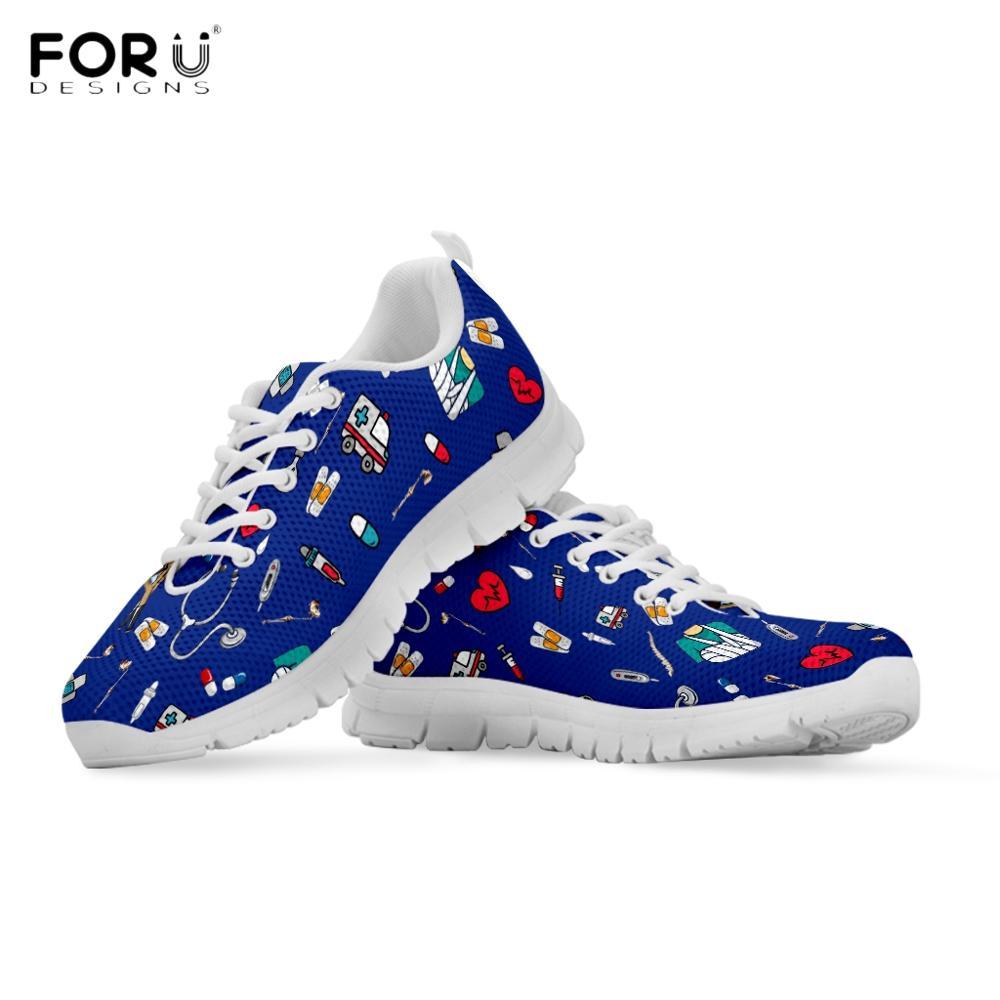 FORUDESIGNS Cute Cartoon Nurse Pattern Woman Flats Shoes Hospital Equipment Nursing Sneaker Breathable Casual Spring/Autumn Shoe