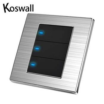 3 Gang 1 Way Luxury LED Light Switch On / Off Wall Switch Brushed Silver Panel Power Conmutador 10A AC 110~250V 1
