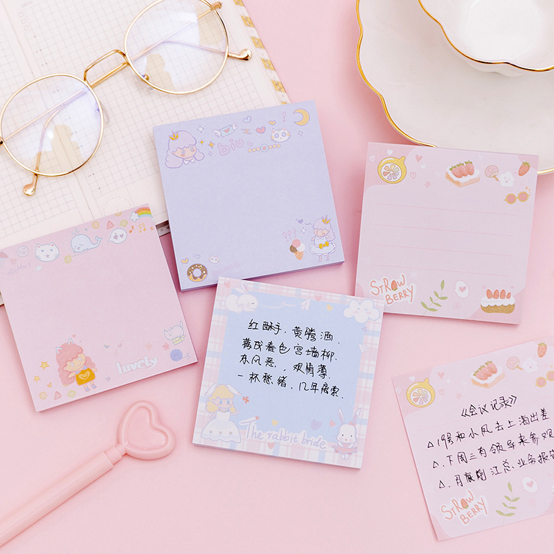 80 Sheets Kawaii Sweet Girl Sticky Notes Memo Pad Diary Stationary Flakes Scrapbook Decorative Cute N Times Sticky