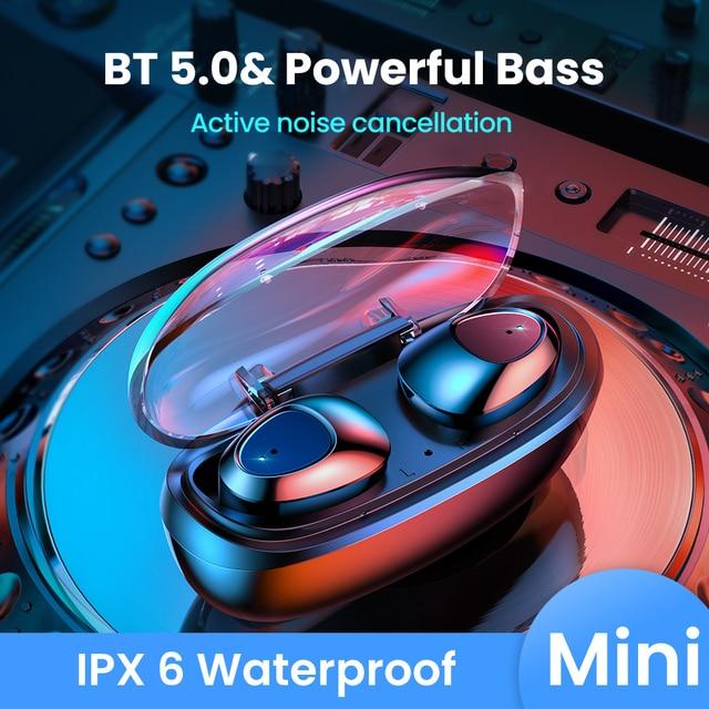FIVI Bluetooth 5.0 Earphones Wireless Headphones Sport Waterproof Headsets Noise Cancelling Gaming Earbuds For iPhone Xiaomi