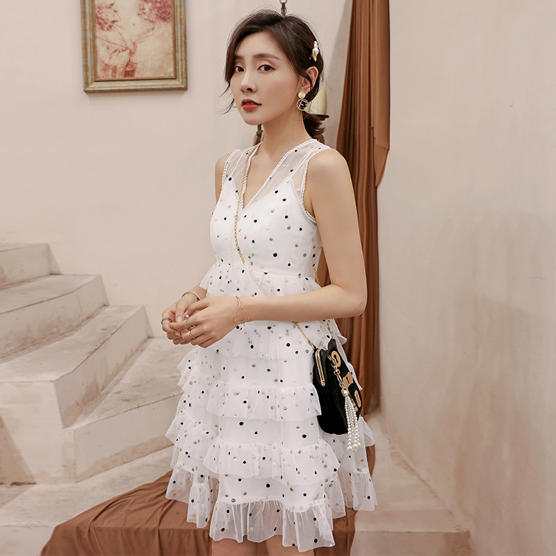 YIGELILA Women Mesh Dot Dress Summer V neck Sleeveless Empire Slim A line 2 Pieces Set Dress 64844 in Dresses from Women 39 s Clothing