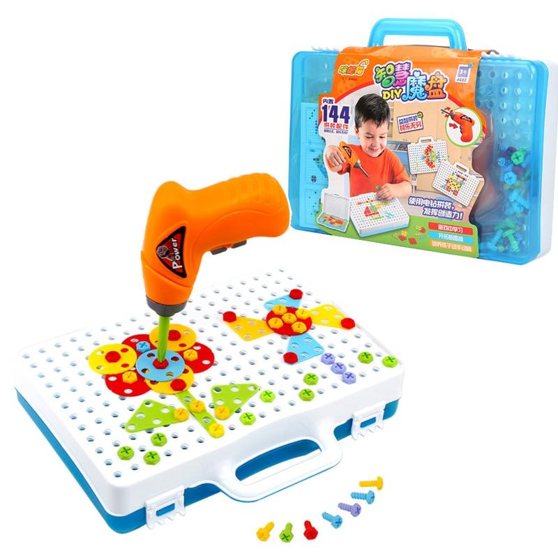 Criativo DIY Furadeira Elétrica Porca Desmontagem Ferramenta Jogo Montado Blocos Define Modelo Brinquedos Educativos Para Crianças Crianças Meninos
