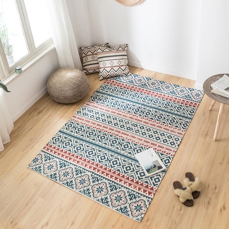 70x150cm Linen Tassel Carpet Living Room Carpet Sofa Coffee Table Rug Pads Window Balcony Hand-Woven Blanket
