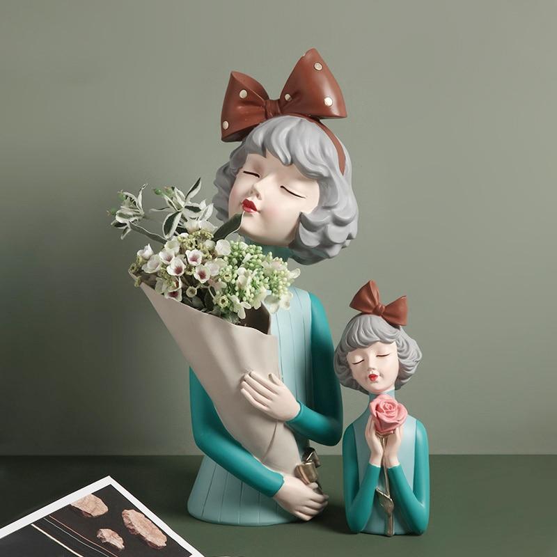 Home Decoration,Sculpture,3D Pretty Girl,Flowers Vase,Table Decor,Statue,Modern,Nordic,Living Room,Decorative Figurine Miniature
