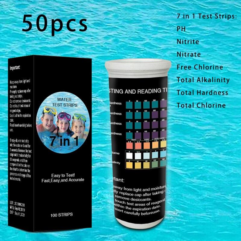 50PCS Water Test Strips 7 In 1 Test Strips PH Level Aquarium Fish Tank Swimming Pools Total Alkali Total Chlorine Test