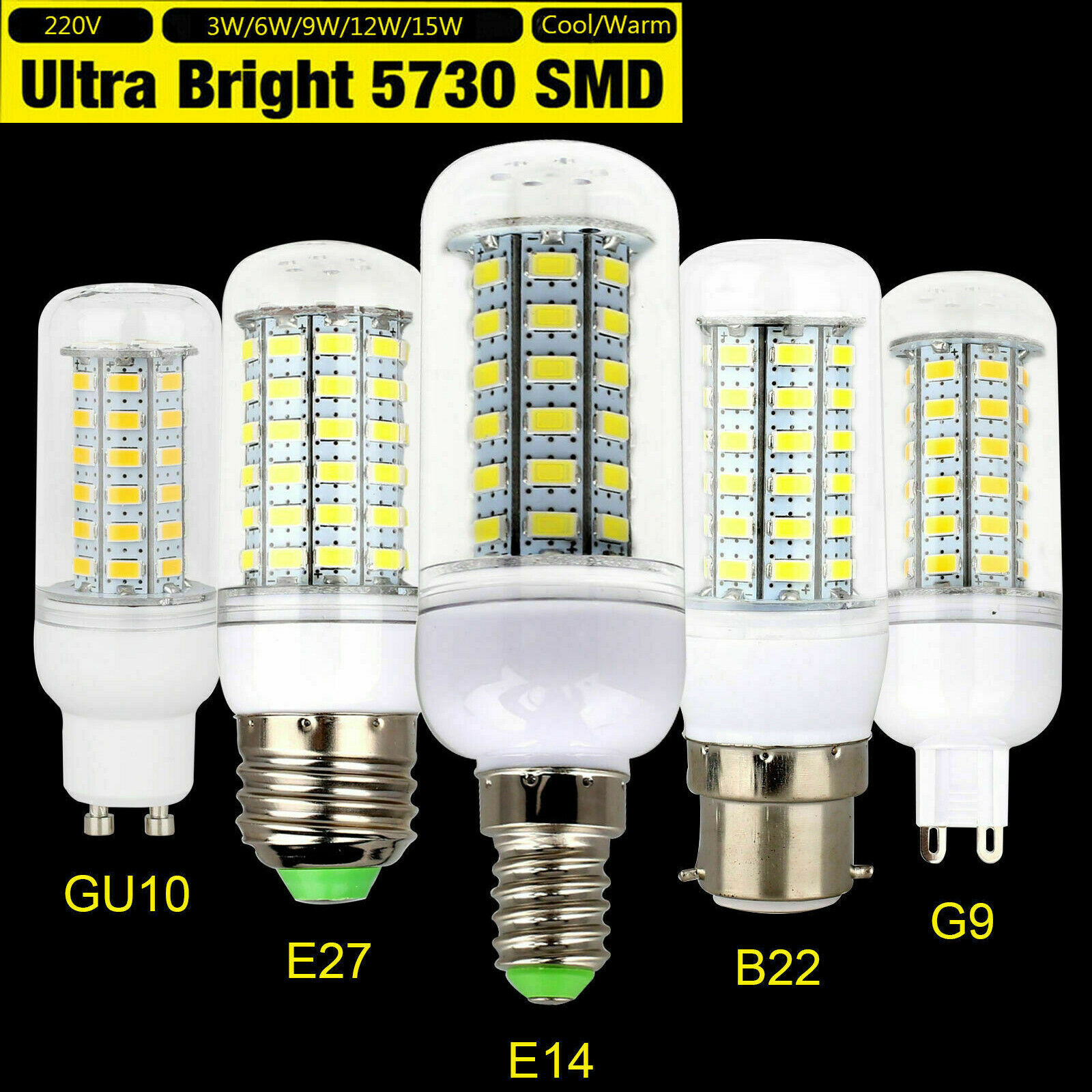 <font><b>3W</b></font> 6W 9W 12W 15W LED Corn Light Bulbs E14 E27 B22 G9 GU10 5730 SMD Bright Cool Warm White Lamp <font><b>220V</b></font> 110V for Home Office Ampoule image