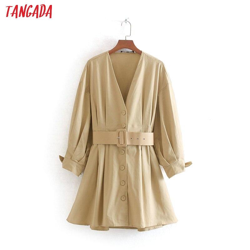 Tangada mode vintage ceinture robes femmes tunique col en v boutons à manches longues 2019 automne hiver mini robe vestidos CE168