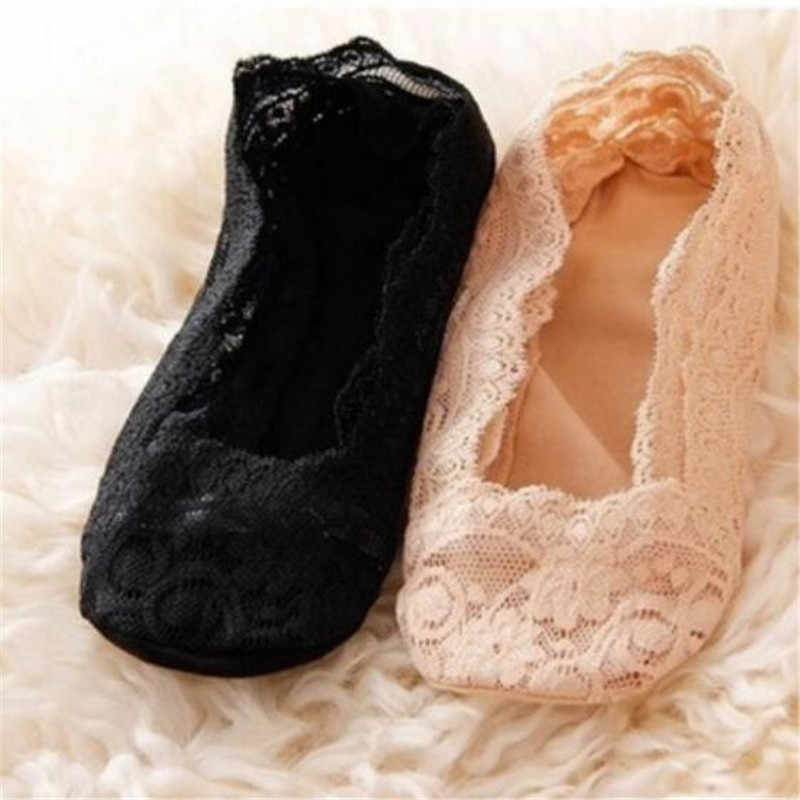 Sale Silicone shallow Women Lace Slipper Ankle Socks Invisible Seamless Girls Low Cut Boat cotton Thick Socks Slippers Anti-Slip