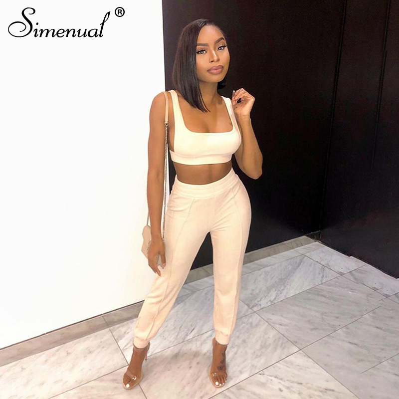 Simenual Ribbed Basic Workout Sportswear Matching Set Women Fashion Casual Solid Two Piece Outfits Sleeveless Top And Pants Sets