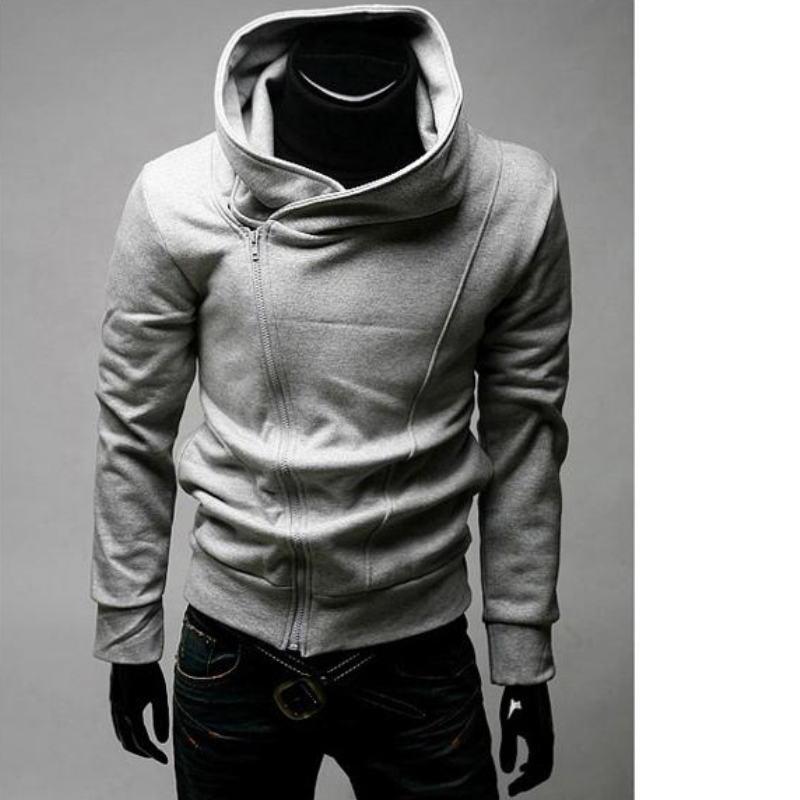 2019 Side Zipper Hoodies Men Cotton Sweatshirt Spring Letter Print Sportswear Slim Pullover Tracksuit Hip Hop Streetwear