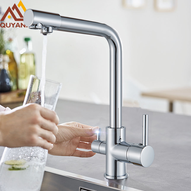 Quyanre Chrome Waterfilter Taps Kitchen Faucets Mixer Drinking Water Filter 3 Way Kitchen Faucet Sink Tap H/C Water Mixer Tap