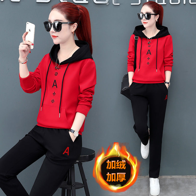 New Fashion Plus Velvet Long Sleeved Women's Sports Two Piece Plus Size Two Piece Set Loose Pink Red Black Spring And Autumn