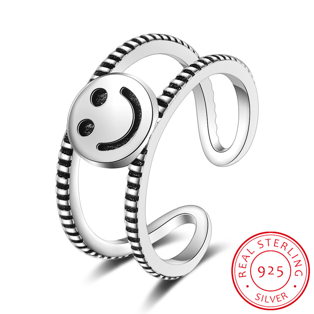 Vintage Double Layer Lovely Smile Face Thai Silver Rings 925 Sterling Silver Personality Adjustable Jewelry For Women Men