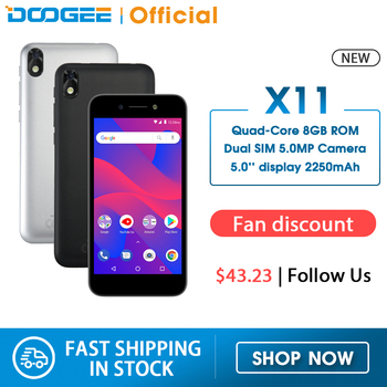 DOOGEE X11 Mobile Phone Dual SIM 5.0inch Display Quad Core 1GB RAM 8GB ROM Android 8.1 WCDMA 2250mAh cellphone 5.0MP Camera