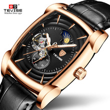 TEVISE Mens Watches Moon phase Tourbillon Automatic Mechanical Watch Men Leather Sport Wristwatch Male Clock Relogio Masculino