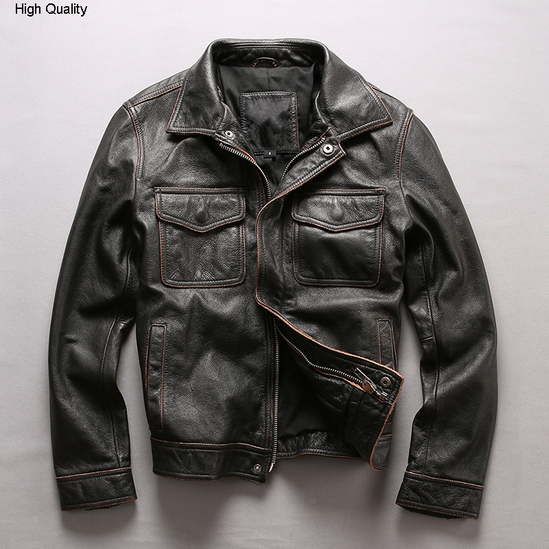 Men's Air Force Flight Jacket Solid Genuine Leather Jacket Men Motorcycle Rider Cow Leather Coat Bomber Jacket Male