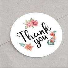 Autocollant de scellage merci, rond, petite taille, décoration en dentelle, jolie fleur herbe 20MM, 120 pièces/paquet