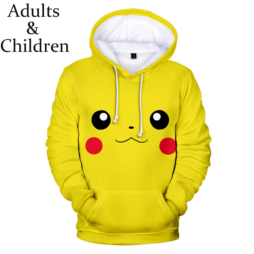 New Pokemon Detective Pikachu 3D Hoodies Men/women Fashion yellow children Warm Harajkuku 3D Print pikachu boys/girls Kids Hoody