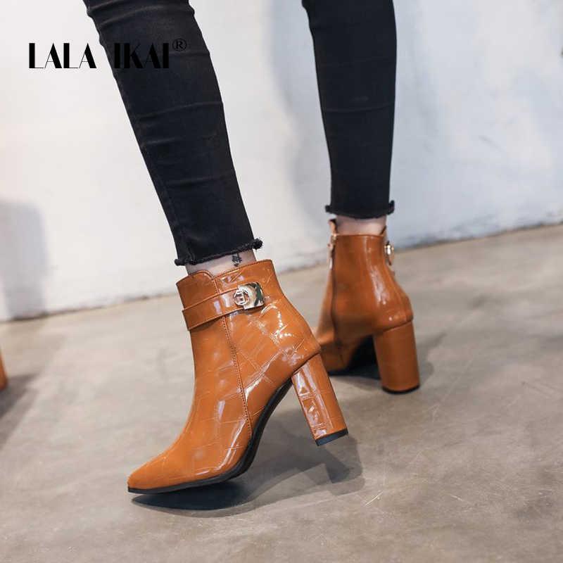 LALA IKAI bottes femme automne hiver cuir Pu bottines femme talons hauts fermeture éclair Chelsea bottes zapatos de mujer XWC6096-4