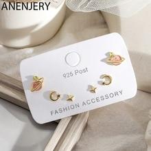 ANENJERY Creative Fruit Star Moon Planet Earrings For Women Small 6-Piece Earrings Set Gift Party Jewelry S-E1225