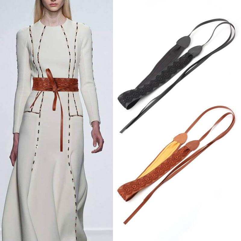 Women For Dress PU Lace Pattern Belt Ladies Wide Firmly Tie R Lace-up Wide Belt Easy Matching Belt Lace Waist Belt Autumn Winte