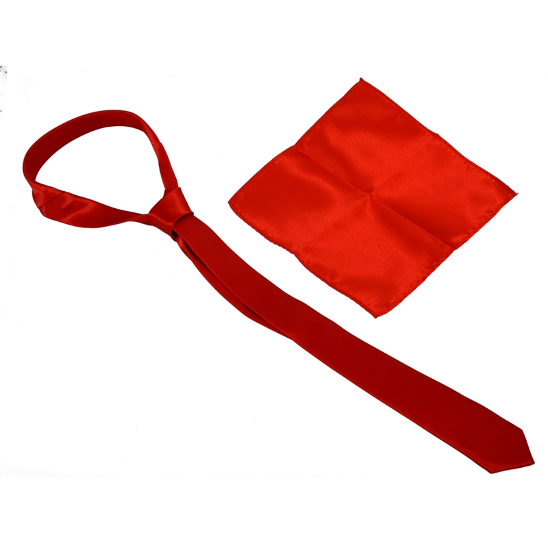 Unisex Casual Necktie And 8.5 Inch Satin Hanky - Red