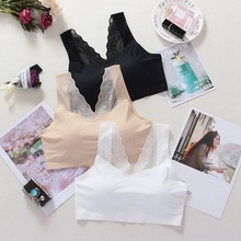 Sexy Lace Crop Top Women Fashion Floral Lace Padded Bra Tank Top V Neck Underwear v neck ruched lace tank top