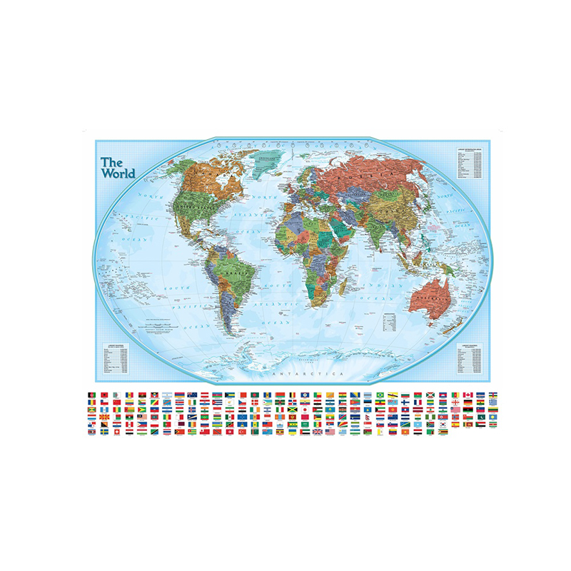 150x100cm The World Hammer Projection Map With National Flags Non-woven Physical World Map For Culture And Education