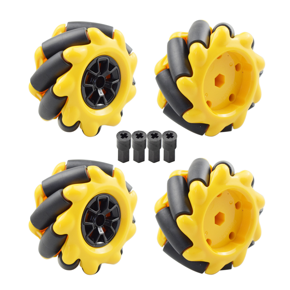 Yellow 60mm Mecanum Wheel Omni-directional Tire With 4pcs Legos Motor Connector For Arduino Raspberry Pi DIY RC Toy Parts
