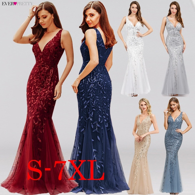 Burgundy Evening Dresses Ever Pretty V-Neck Mermaid Sequined Formal Dresses Women Elegant Party Gowns Lange Jurk 2020
