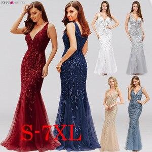 Image 2 - Robes de soirée bordeaux Ever Pretty EP07886 col en v sirène paillettes robes formelles femmes élégantes robes de soirée Lange Jurk 2020