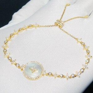 Image 5 - SLJELY Высокое качество Настоящее серебро 925 пробы звезда Искусство Круглый корпус браслет со значком микро фианит женские роскошные брендовые ювелирные изделия