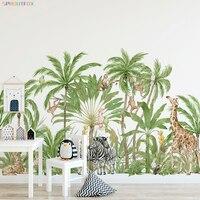 Pegatinas de Mono para la pared para habitación de los niños, calcomanías de Animal grande, jirafa, cebra, bosque, palmera, decoración de papel tapiz para guardería