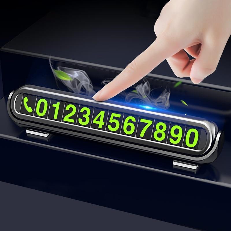 2019 nueva pegatina luminosa para estacionamiento temporal de coche, ambientador de coche, placa de tarjetas de número de teléfono, aromaterapia para coche, accesorios