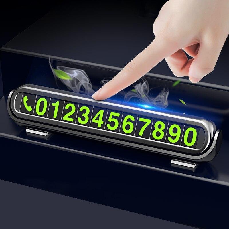 2020 nowy świetlisty samochód tymczasowa karta parkingowa naklejki odświeżacz powietrza do samochodu Auto tabliczka z numerem telefonu aromaterapia samochodowa akcesoria