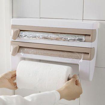 壁掛けキッチンペーパーロールディスペンサーしがみつくフィルムとキッチンアルミ箔ディスペンサー紙タオルラック