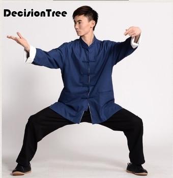 2019 men wing chun wushu kung fu jiu jitsu t shirt taiji top tees chinese kung fu character cotton linen wushu blouse Tai Chi